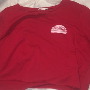 Red cropped crew neck